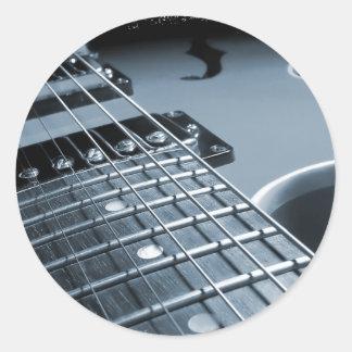 Blue Electric Guitar Close-up Classic Round Sticker