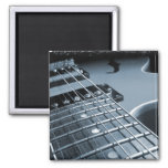 Blue Electric Guitar Close-up Refrigerator Magnets