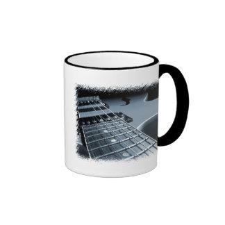 Blue Electric Guitar Close-up Ringer Coffee Mug