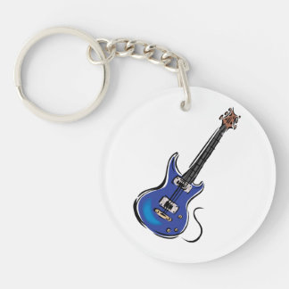 blue electric guitar music graphic.png keychain