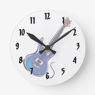 blue electric guitar music graphic.png round clock