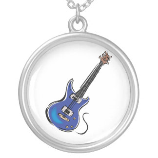 blue electric guitar music graphic.png silver plated necklace