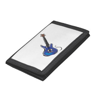 blue electric guitar music graphic.png tri-fold wallets