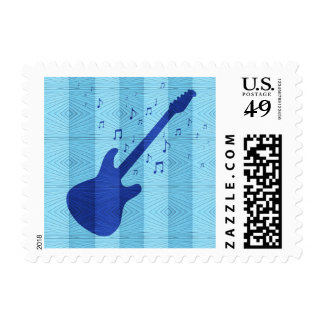 Blue Electric Guitar - Music Stamp