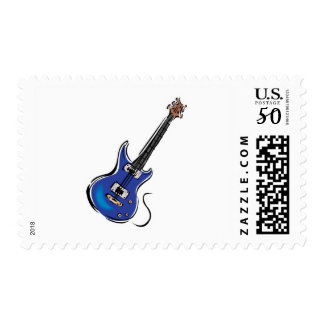 blue electric guitar postage