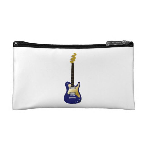 Blue electric guitar yellow fizzle headstock cosmetic bag