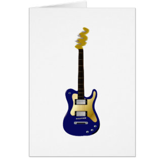 Blue electric guitar yellow fizzle headstock card