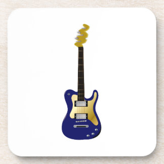 Blue electric guitar yellow fizzle headstock drink coaster