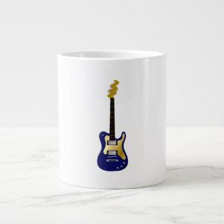 Blue electric guitar yellow fizzle headstock large coffee mug