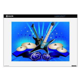 "Blue Electric Guitars, Drums & Speakers 15"" Laptop Skins"