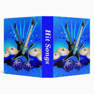 Blue Electric Guitars, Drums & Speakers 3 Ring Binder