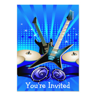 Blue Electric Guitars, Drums & Speakers 5x7 Paper Invitation Card