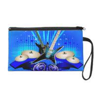 Blue Electric Guitars, Drums & Speakers Wristlet Purses