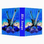 Blue Electric Guitars, Drums & Speakers 3 Ring Binders