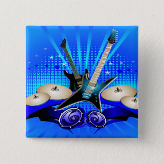 Blue Electric Guitars, Drums & Speakers Button