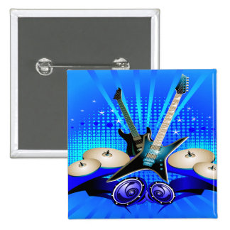 Blue Electric Guitars Drums Speakers Buttons