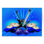 Blue Electric Guitars, Drums & Speakers Card