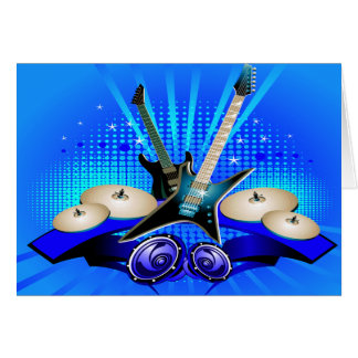 Blue Electric Guitars, Drums & Speakers Card