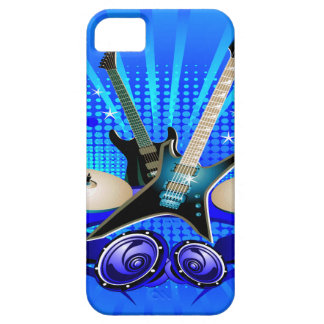 Blue Electric Guitars, Drums & Speakers iPhone 5 Cases