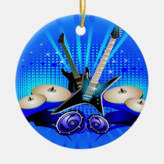 Blue Electric Guitars, Drums & Speakers Ceramic Ornament