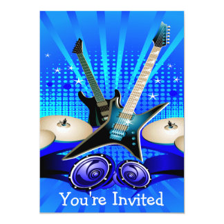 Blue Electric Guitars, Drums & Speakers Grad Party Card