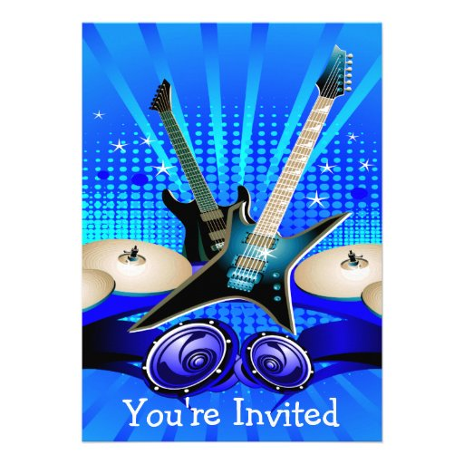Blue Electric Guitars, Drums & Speakers Grad Party Personalized Invites