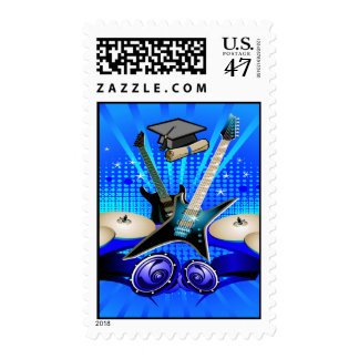 Blue Electric Guitars, Drums & Speakers Grad Party Stamp