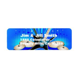 Blue Electric Guitars, Drums & Speakers Label