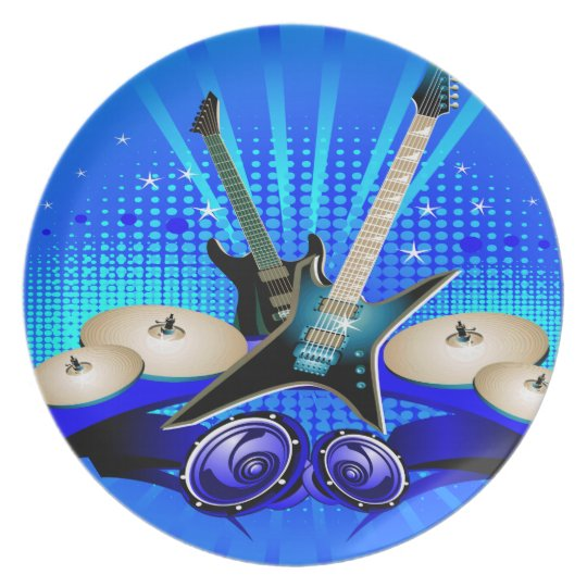 Blue Electric Guitars, Drums & Speakers Melamine Plate