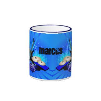 Blue Electric Guitars, Drums & Speakers Ringer Coffee Mug