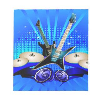 Blue Electric Guitars, Drums & Speakers Notepad