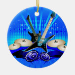 Blue Electric Guitars, Drums & Speakers Ornament