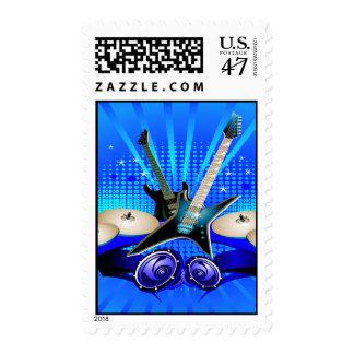 Blue Electric Guitars, Drums & Speakers Postage Stamp