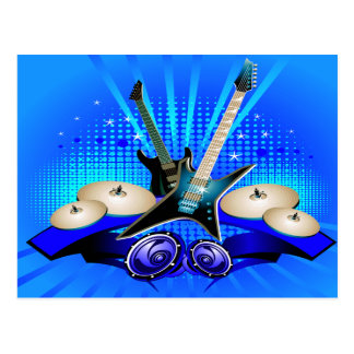 Blue Electric Guitars, Drums & Speakers Postcard