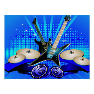 Blue Electric Guitars, Drums & Speakers Poster
