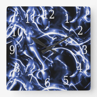 Blue Electric Square Clock