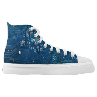 blue electronic circuit board computer pattern High-Top sneakers