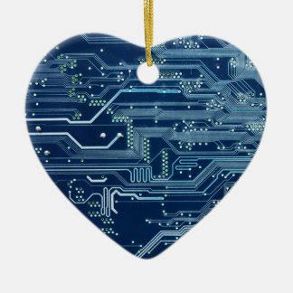 blue electronic circuit board computer pattern Double-Sided heart ceramic christmas ornament