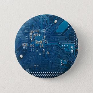 blue electronic circuit board computer pattern pinback button