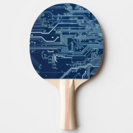 blue electronic circuit board computer pattern Ping-Pong paddle