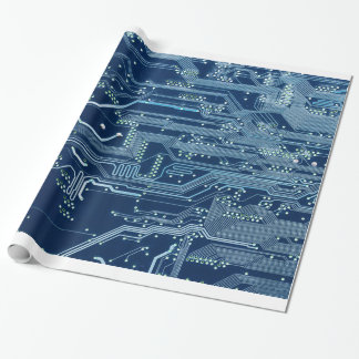 blue electronic circuit board computer pattern wrapping paper