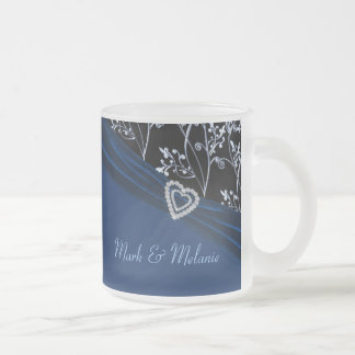 Blue Elegance Heart Floral Swirls Frosted Glass Coffee Mug