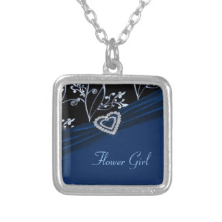 Blue Elegance Heart Floral Swirls Silver Plated Necklace