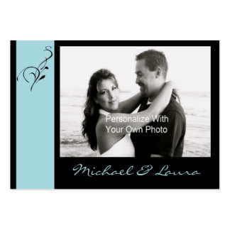 Blue  Elegance Mini Save The Date Card Large Business Cards (Pack Of 100)