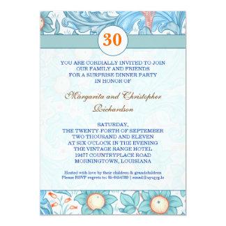 blue elegant 30th wedding anniversary invitations