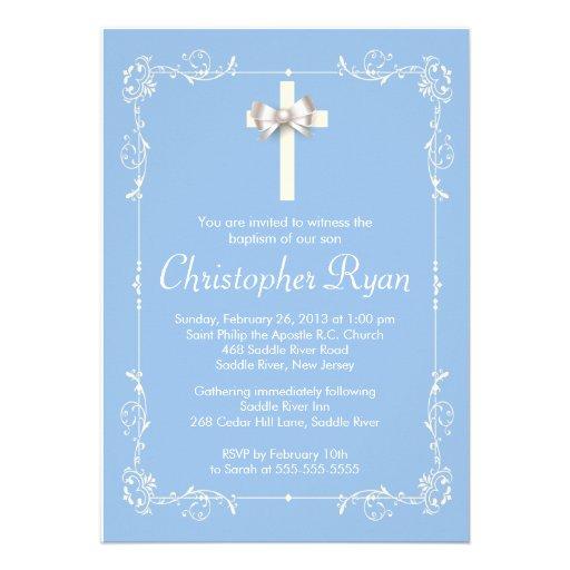 Blue Elegant Baptism | Christening Elegant Cross Invitations