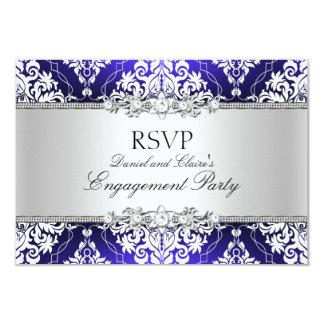 Blue Elegant Damask Engagement Party RSVP Card