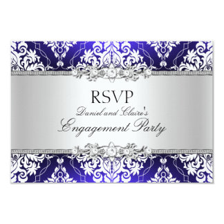 Blue Elegant Damask Engagement Party RSVP 3.5x5 Paper Invitation Card