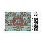 blue elegant damask monogram postage