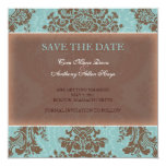"Blue elegant damask save the date 5.25"" square invitation card"